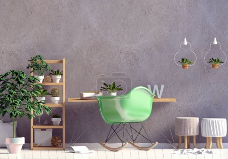 Photo for Modern interior in the style scandinavian, a place for study. 3D illustration. Wall mock up - Royalty Free Image