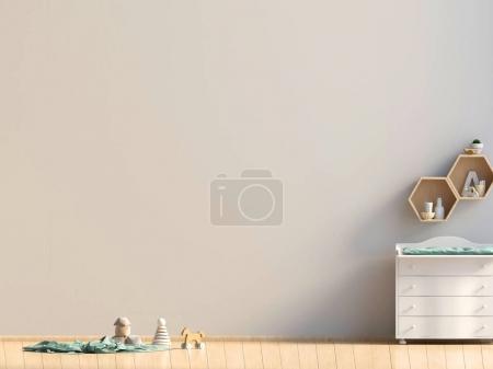 Photo pour Chambre d'enfant pastel. salle de jeux. style moderne. Illustration 3D. Maquette murale - image libre de droit