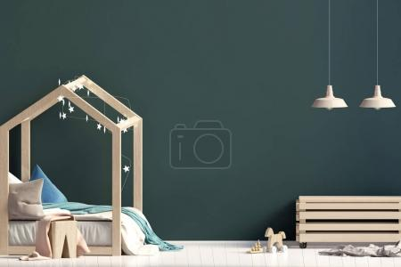 Interior of the childroom. sleeping place. 3d illustration. Mock