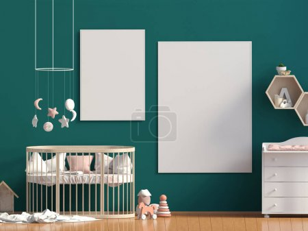 Photo for Interior of the childroom. sleeping place. 3d illustration. Mock up poster - Royalty Free Image