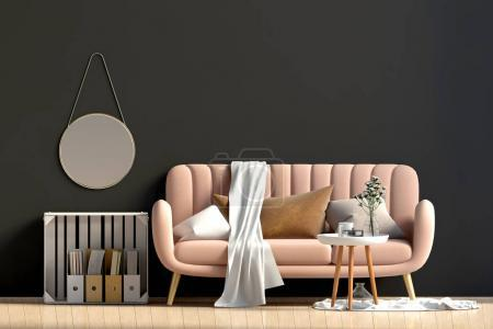Photo for Modern interior with coffee table and sofa. Wall mock up. 3d illustration. - Royalty Free Image