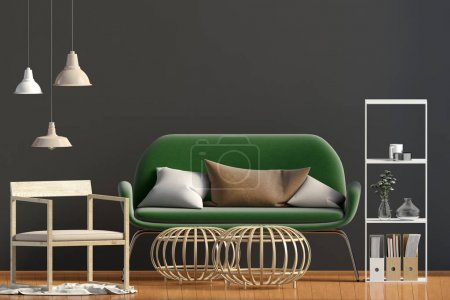 Photo pour Intérieur moderne avec table basse et canapé. Mur maquillé. Illustration 3d . - image libre de droit