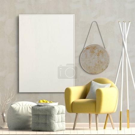 Photo for Modern interior design in Scandinavian style.Mock up poster. 3D illustration. - Royalty Free Image