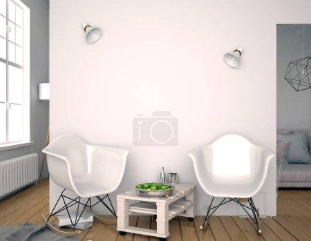 Foto de Interior moderno con silla de plástico. La pared se burla. ilustración 3d . - Imagen libre de derechos