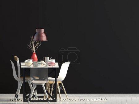Photo pour Maquette murale à l'intérieur avec coin repas. salon style moderne. Illustration 3d - image libre de droit