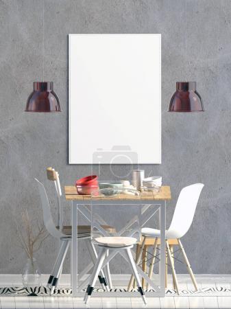 Photo pour Affiche maquillée à l'intérieur avec coin repas. salon style moderne. Illustration 3d - image libre de droit