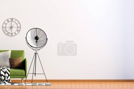 Photo for Modern interior with sofa and lamp. Wall mock up. 3d illustration. - Royalty Free Image