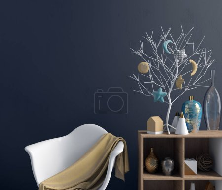 Photo for Modern Christmas interior with credenza, Scandinavian style. Wall mock up. 3D illustration - Royalty Free Image