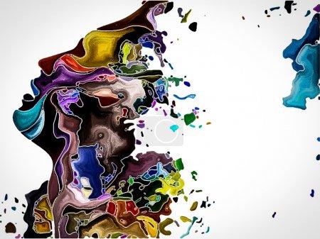 Photo pour Série Human Apart. Conception de toile de fond de profil de la tête et des formes de peinture vives pour les œuvres d'art, la spiritualité et le design - image libre de droit