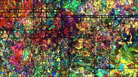 Foto de Luz la serie de división. Interacción de coloridas vidrieras patrones en materia de arte, diseño y fuerzas de la naturaleza para pantallas extra grandes. - Imagen libre de derechos