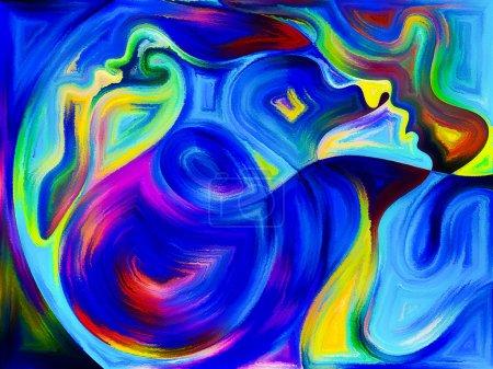 Foto de Serie de diálogo interno. Diseño hecho de perfiles humanos y formas de pintura vívidas para servir de telón de fondo para proyectos relacionados con emociones, relaciones, drama humano, espiritualidad y diseño - Imagen libre de derechos