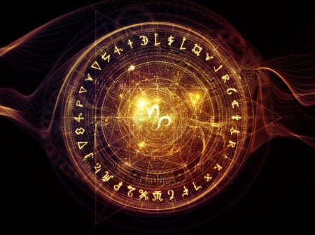 Photo for Orbits of Destiny series. Backdrop composed of sacred symbols, signs, geometry and designs and suitable for use in the projects on astrology, alchemy, magic, witchcraft and fortune telling - Royalty Free Image