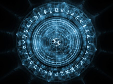 Photo pour Orbites de la série Destiny. Jeu des symboles sacrés, des signes, la géométrie et dessins sur le thème de l'astrologie, alchimie, magie, sorcellerie et voyance - image libre de droit