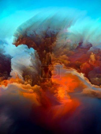 Photo pour Série Alien Worlds. Conception d'arrière-plan de couleurs surréalistes et peinture de paysage numérique sur le sujet de la science-fiction, des rêves, des forces de la nature et de l'imagination - image libre de droit