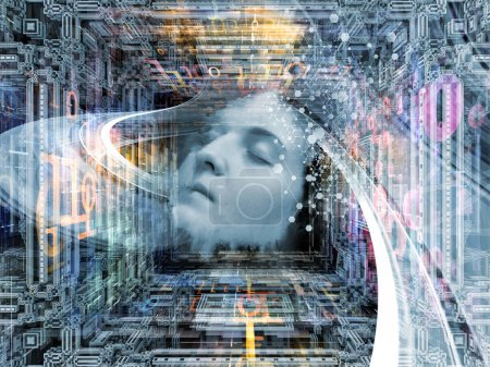 Photo for Digital Dreams series. Arrangement of human face and digital structures on the subject of mind, thought, sleep, science and education - Royalty Free Image