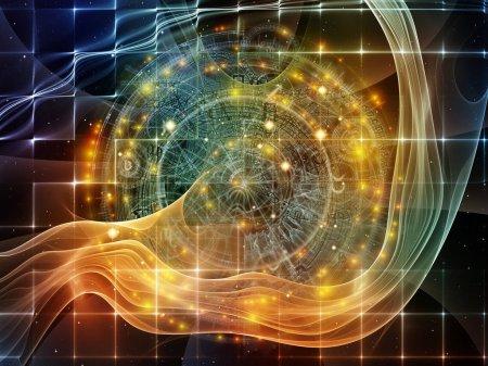 Photo pour Orbites du destin. Conception de fond de symboles sacrés, de signes, de géométrie et de dessins sur le thème de l'astrologie, de l'alchimie, de la magie, de la sorcellerie et de la fortune - image libre de droit