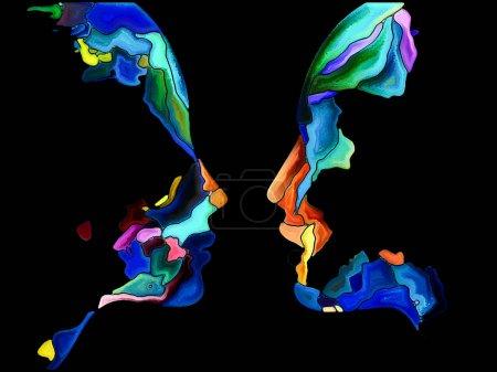 Foto de Serie Human Apart. Diseño de fondo del perfil de la cabeza y formas de pintura vívidas sobre el tema del arte, la espiritualidad y el diseño - Imagen libre de derechos