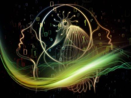 Photo pour Profils de la série Technologie. Disposition abstraite du profil féminin et des éléments fractaux adaptés aux projets de technologie, de science et d'éducation - image libre de droit
