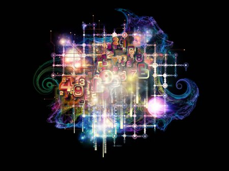 Photo for Cloud Networking series. Arrangement of numbers, colors and fractal elements on the subject of math, science, education and art - Royalty Free Image
