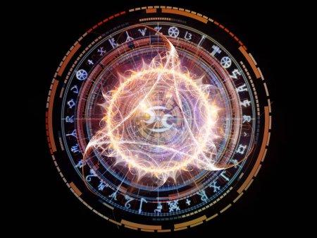 Photo pour Orbites du destin. abstraction artistique composée de symboles sacrés, signes, géométrie et dessins sur le thème de l'astrologie, l'alchimie, la magie, la sorcellerie et la bonne aventure - image libre de droit