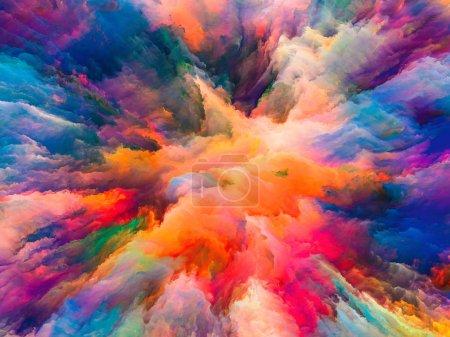 Photo pour Série Color Splash. Composition de peinture fractale et texture riche au sujet de l'imagination, de la créativité et de l'art - image libre de droit