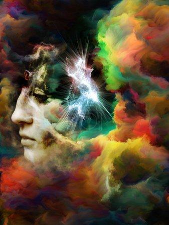 Photo pour Surreal Dust Portrait series. Composition de la fumée fractale et portrait féminin sur le thème de la spiritualité, de l'imagination et de l'art - image libre de droit