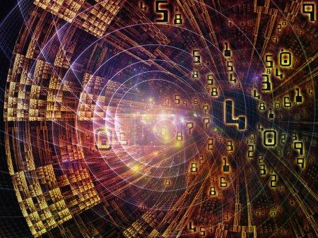 Photo pour Numéro de domaine série. Interaction des symboles mathématiques, des textures fractales et des éléments de design au sujet de la réalité virtuelle, de la science, de l'éducation et de la technologie moderne - image libre de droit