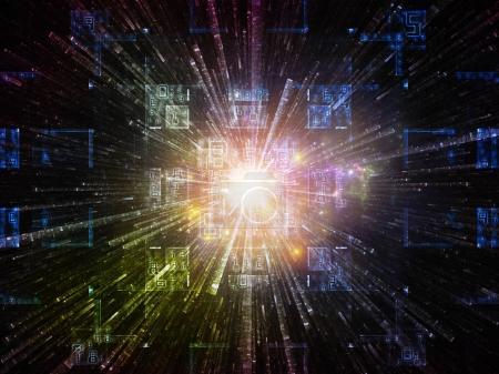 Photo pour Numéro de domaine série. Conception de fond de symboles mathématiques, de textures fractales et d'éléments de conception sur le sujet de la réalité virtuelle, de la science, de l'éducation et de la technologie moderne - image libre de droit