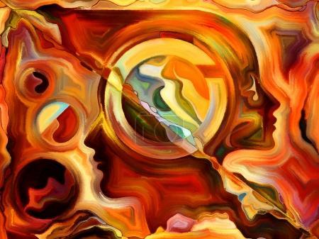 Photo pour Série Forces de la nature. Fond composé de peinture colorée et de formes abstraites et adapté à une utilisation dans les projets sur l'art moderne, l'art abstrait, l'expressionnisme et la spiritualité - image libre de droit