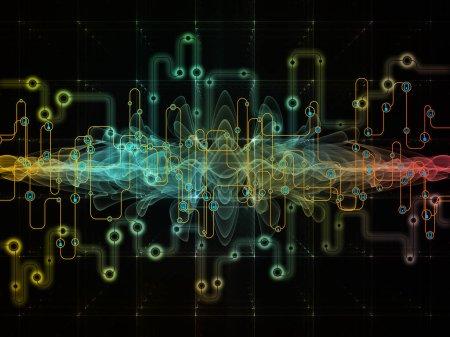 Photo pour Série Monde Connecté. Disposition des diagrammes de réseau, des symboles de haute technologie et des modèles fractaux sur le sujet de la technologie moderne, de l'éducation et des communications informatiques - image libre de droit
