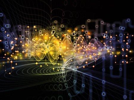 Foto de Serie de mundo conectado. Antecedentes de diagramas de red, símbolos de alta tecnología y patrones fractales para el uso en proyectos de comunicaciones modernas de la tecnología, la educación y la informática - Imagen libre de derechos