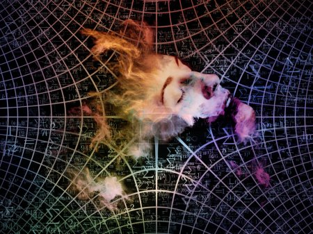 Photo for Who Are We series. Interplay of surreal human portrait, fractal and mathematical patterns on the subject of philosophy, religion, math, science, technology and education - Royalty Free Image