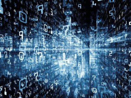 Photo pour Série Digital City. Composition de fractales tridimensionnelles et de nombres appropriés comme toile de fond pour les projets sur les ordinateurs, la science, la réalité virtuelle et la technologie moderne - image libre de droit