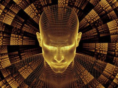Photo pour Série Radiating Mind. rendu 3D du modèle treillis métallique de la tête humaine et motif fractal approprié comme toile de fond pour les projets sur l'esprit humain, l'intelligence artificielle et la réalité virtuelle - image libre de droit