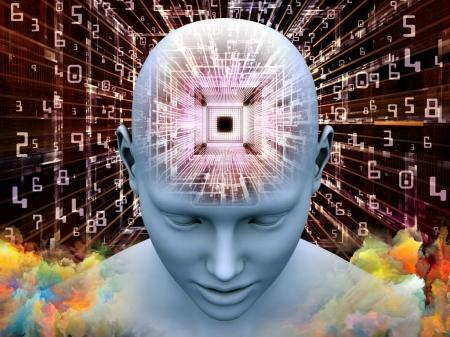 Photo for Mind Processor series. 3D illustration of Human head with CPU in perspective on the subject of  artificial intelligence, mind, mass media and modern technology - Royalty Free Image