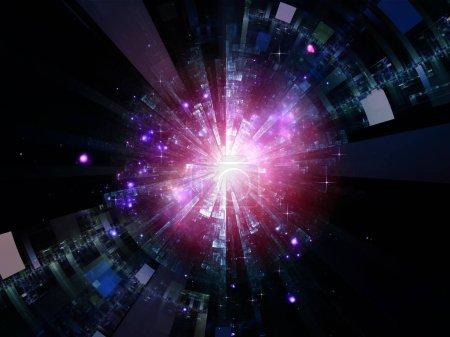 Photo pour Série Central Design. Interaction des modèles radiaux fractaux et de la lumière sur le thème de l'éducation, de la science et de la technologie - image libre de droit