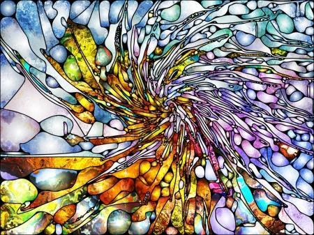 Foto de Serie de vidrieras. Fondo compuesto por patrones orgánicos y apto para su uso en los proyectos de espiritualidad, imaginación, creatividad y arte - Imagen libre de derechos