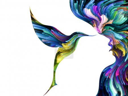 Bird of Mind series. Arrangement of woman and bird profile executed with colorful paint on the subject of creativity, imagination, spirituality and art