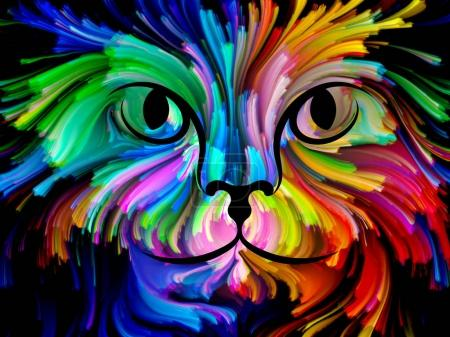 Cat Paint series. Backdrop composed of colorful feline portrait and suitable for use in the projects on art, imagination and creativity