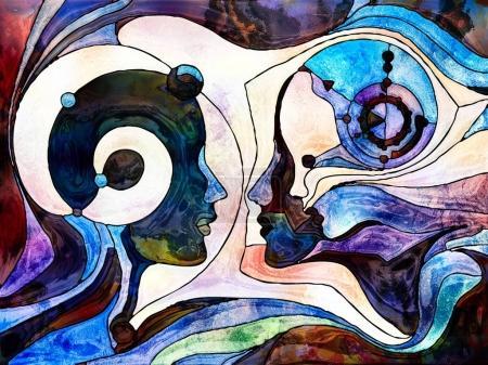 Photo pour Série Vitrail Forever. Profils de tête d'hommes, de femmes et d'enfants dessinés avec des motifs organiques signifiant dialogue, communication, éducation et connaissance . - image libre de droit