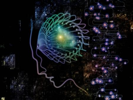 Photo for Digital Mind series. Backdrop of  silhouette of human face and technology symbols to complement your design on the subject of computer science, artificial intelligence and communications - Royalty Free Image