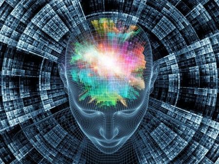 Photo pour Série Radiating Mind. rendu 3D du modèle treillis métallique de la tête humaine et le motif fractal pour servir de toile de fond pour des projets liés à l'esprit humain, l'intelligence artificielle et la réalité virtuelle - image libre de droit