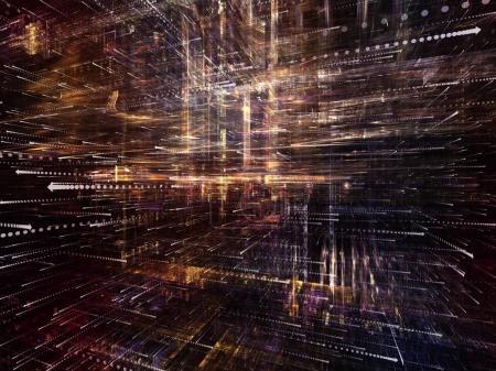 Photo pour Série d'espace virtuel. Composition de la structure 3d translucide avec symboles de flèches dans la perspective appropriée comme toile de fond pour les projets sur les technologies de l'information, des ordinateurs et des communications - image libre de droit