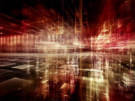 Foto de Serie de ciudad digital. Diseño de fondo de tres dimensiones fractales y luces sobre el tema de ordenadores, ciencia, realidad virtual y tecnología moderna - Imagen libre de derechos