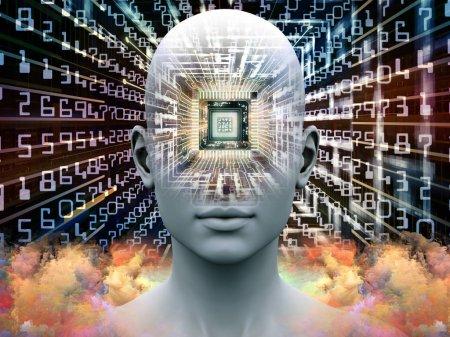 Photo pour Série du processeur de l'esprit. 3D illustration d'une tête humaine avec Cpu en perspective pour travaille sur l'intelligence artificielle, esprit, médias et technologie moderne - image libre de droit