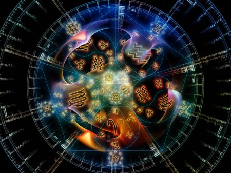 Photo for Astral Connection series. Abstract arrangement of Zodiac and fractal geometry symbols suitable for projects on magic, sacred, occult and astrology - Royalty Free Image