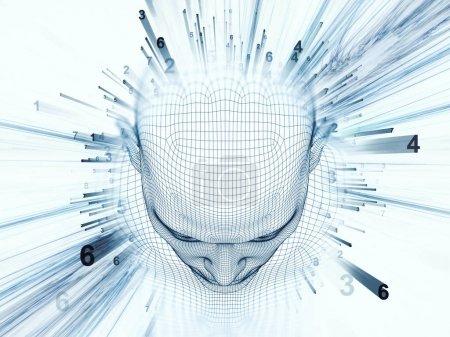 Photo pour Rendu 3D - série Mind Field. Composition de la tête de treillis métallique modèle humain et des motifs fractaux appropriés comme toile de fond pour les projets sur l'intelligence artificielle, la science et la technologie - image libre de droit