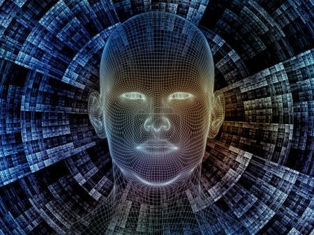 Photo pour Série Radiating Mind. Conception de rendu 3D en treillis métallique de la tête humaine et motif fractal sur le sujet de l'esprit humain, l'intelligence artificielle et la réalité virtuelle - image libre de droit