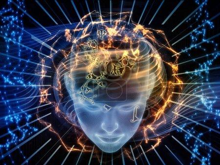 Photo pour Bien que la série Swirl. Toile de fond de la tête humaine filaire, chiffres et lignes sur le sujet de la science, la technologie et l'éducation - image libre de droit