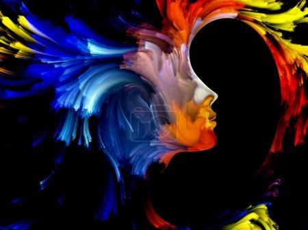 Photo pour Série Peinture Visage. Design fait de portrait humain coloré pour servir de toile de fond à des projets liés à l'art, l'imagination, la créativité et le féminisme - image libre de droit